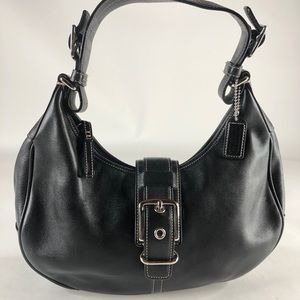 Coach Hampton Saddle Black Leather Shoulder Bag